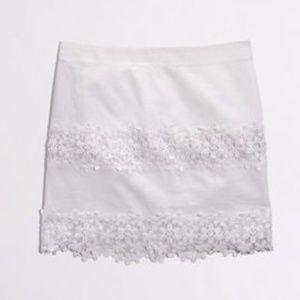 J. Crew Factory Mini White Scalloped Floral Skirt